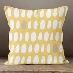 Gold with White Irregular Ovals Throw Pillow