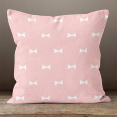 Pink with White Hand Drawn Bows Throw Pillow