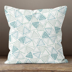 White and Teal Triangles Throw Pillow