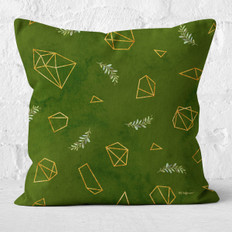 Green Polygons and Ferns Throw Pillow