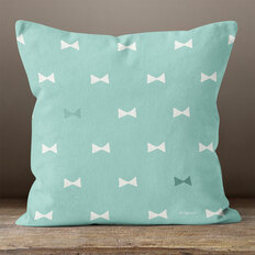 Teal with White Hand Drawn Bows Throw Pillow