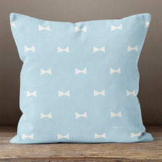 Blue with White Hand Drawn Bows Throw Pillow
