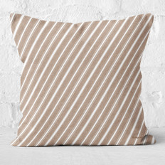 Tan with White Candy Cane Stripes Throw Pillow