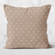 Tan with White Polka Dots Throw Pillow