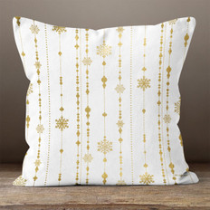 White with Gold Snowflake Ornament Strings Throw Pillow