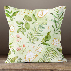 Light Green Polygons and Watercolor Leaves Throw Pillow