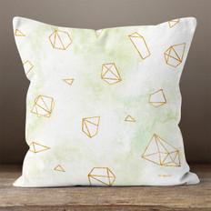 White Watercolor Polygons Throw Pillow