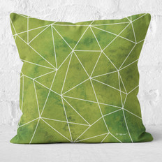 Green Emerald Facets Throw Pillow