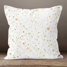 White with Gold Winter Branches Throw Pillow