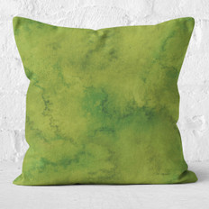 Green Leaf Watercolor Wash Throw Pillow