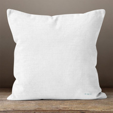 White Linen Print Throw Pillow