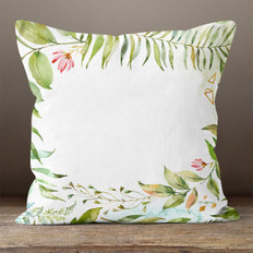 White Watercolor Floral Frame Throw Pillow