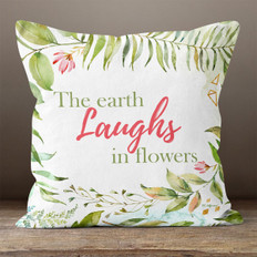 White Watercolor Floral Laugh Throw Pillow