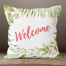 White Watercolor Floral Welcome Throw Pillow
