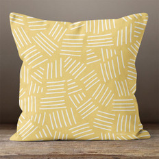 Gold with White Hash Marks Throw Pillow