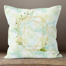 White Crystal Watercolor Polygon and Leaves Throw Pillow