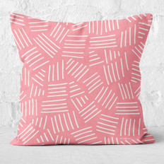 Pink with White Hash Marks Throw Pillow