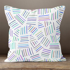 White with Bright  Multicolor Hash Marks Throw Pillow