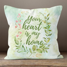 White Crystal Watercolor Heart Home Throw Pillow