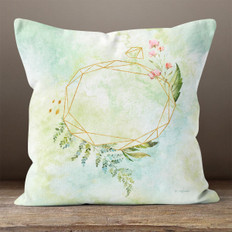 White Crystal Watercolor Diamond Frame Throw Pillow