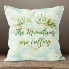 White Crystal Watercolor Mountains Throw Pillow