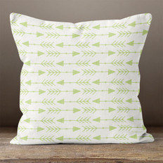 White with Green Left & Right Arrows Throw Pillow