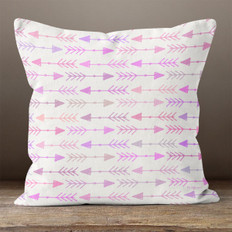White with Pinks & Purple Multicolor Left & Right Arrows Throw Pillow