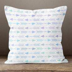 White with Green & Blue  Multicolor Left & Right Arrows Throw Pillow