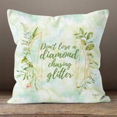 White Crystal Watercolor Diamond Quote Throw Pillow
