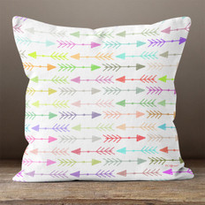 White with Bright  Multicolor Left & Right Arrows Throw Pillow