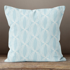 Blue with White Stylistic Ovals Throw Pillow