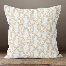 Cream with Tan Stylistic Ovals Throw Pillow
