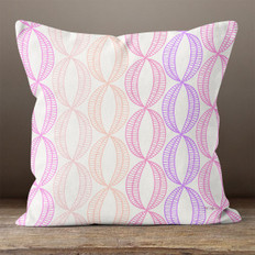 White with Pink & Purple Multicolored Stylistic Ovals Throw Pillow