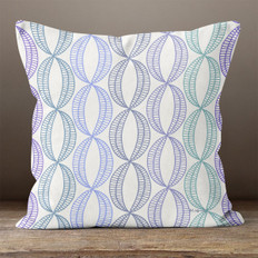 White with Dark Multicolored Stylistic Ovals Throw Pillow
