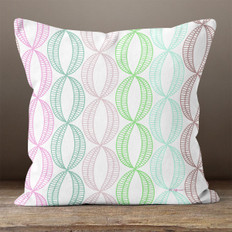 White with Bright Multicolored Stylistic Ovals Throw Pillow