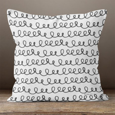 Grey with Black Hand Drawn Line of Loops Throw Pillow