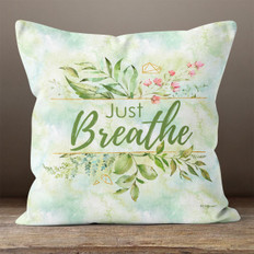 White Crystal Watercolor Just Breathe Throw Pillow