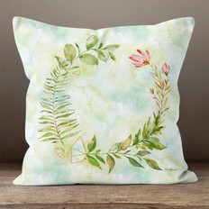 White Crystal Watercolor Wreath Throw Pillow