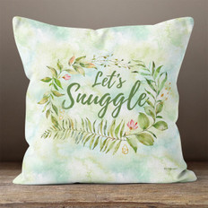 White Crystal Watercolor Let's Snuggle Throw Pillow
