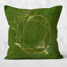 Green Watercolor Emerald Facets Throw Pillow
