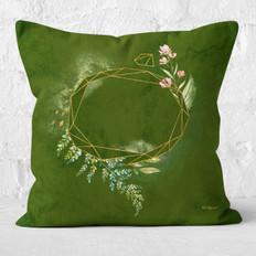 Green Watercolor Emerald Facets 2 Throw Pillow
