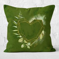 Green Watercolor Heart Facets Throw Pillow
