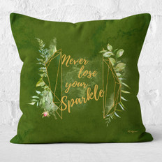 Green Watercolor Never Lose Your Sparkle Throw Pillow