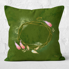 Green Emerald Watercolor Oval Facets and Lilacs Throw Pillow