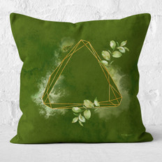 Green Watercolor Triangle Facets 2 Throw Pillow