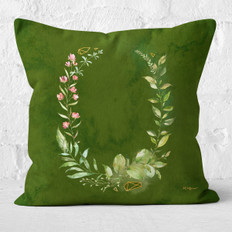 Green Watercolor Emerald Floral Throw Pillow