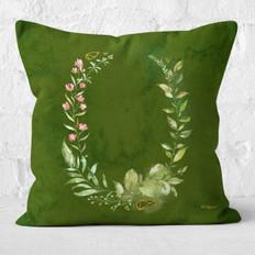 Green Watercolor Emerald Floral Throw Pillow
