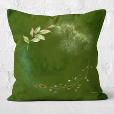 Green Watercolor Circle Floral Throw Pillow