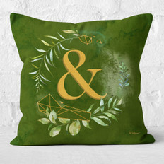 Green Watercolor Emerald Floral Ampersand Throw Pillow