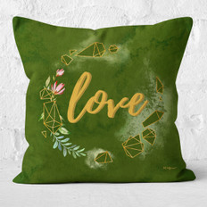 Green Watercolor Emerald Floral Love Throw Pillow
